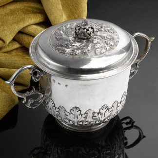 A Large and impressive Charles II Caudle Cup with cover; fully hallmarked on the side of the bowl for London 1680,